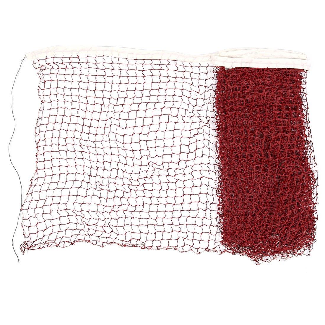 6 x 0.7M Nylon White Trim Burgundy Braided Mesh Badminton Training Net Sourcingmap a11101100ux0027