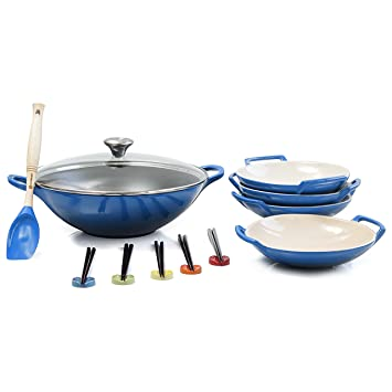 Le Creuset Marsella azul esmaltado hierro fundido Wok con cerámica ...