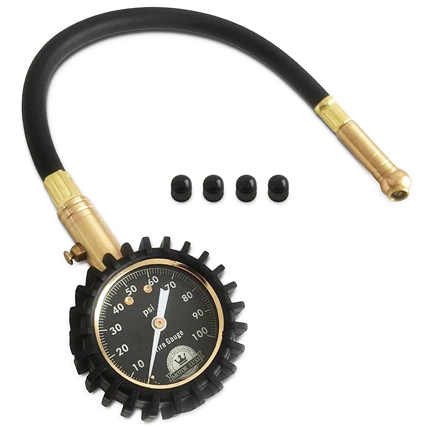 tire pressure gauge. amazon.com: motor luxe tire pressure gauge 100 psi - accurate heavy duty air for your car truck and motorcycle 4 free valve caps: