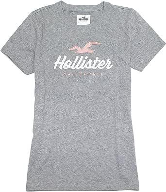 Hollister HOW-12 - Camiseta para Mujer con Logotipo Bordado