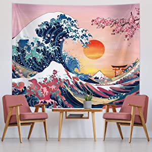 Ocean Wave Tapestry Sunset Tapestry Wall Hanging Japanese Kanagawa Tapestry Great Wave Cherry Blossom Nature Backdrop Tapestry for Japanese Party Wall Home Decorations (59 x 51 Inch)