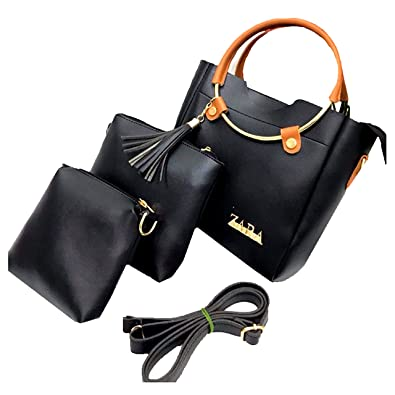 d9c7b7acac ZARA Women's Round Handle Handbag(Black, z3.1) - Set of 3: Amazon.in: Shoes  & Handbags