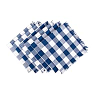 DII CAMZ37562 HEAVYWEIGHT FRINGED NP CHECK S/6 NAVY, Napkins, Checkered Piece