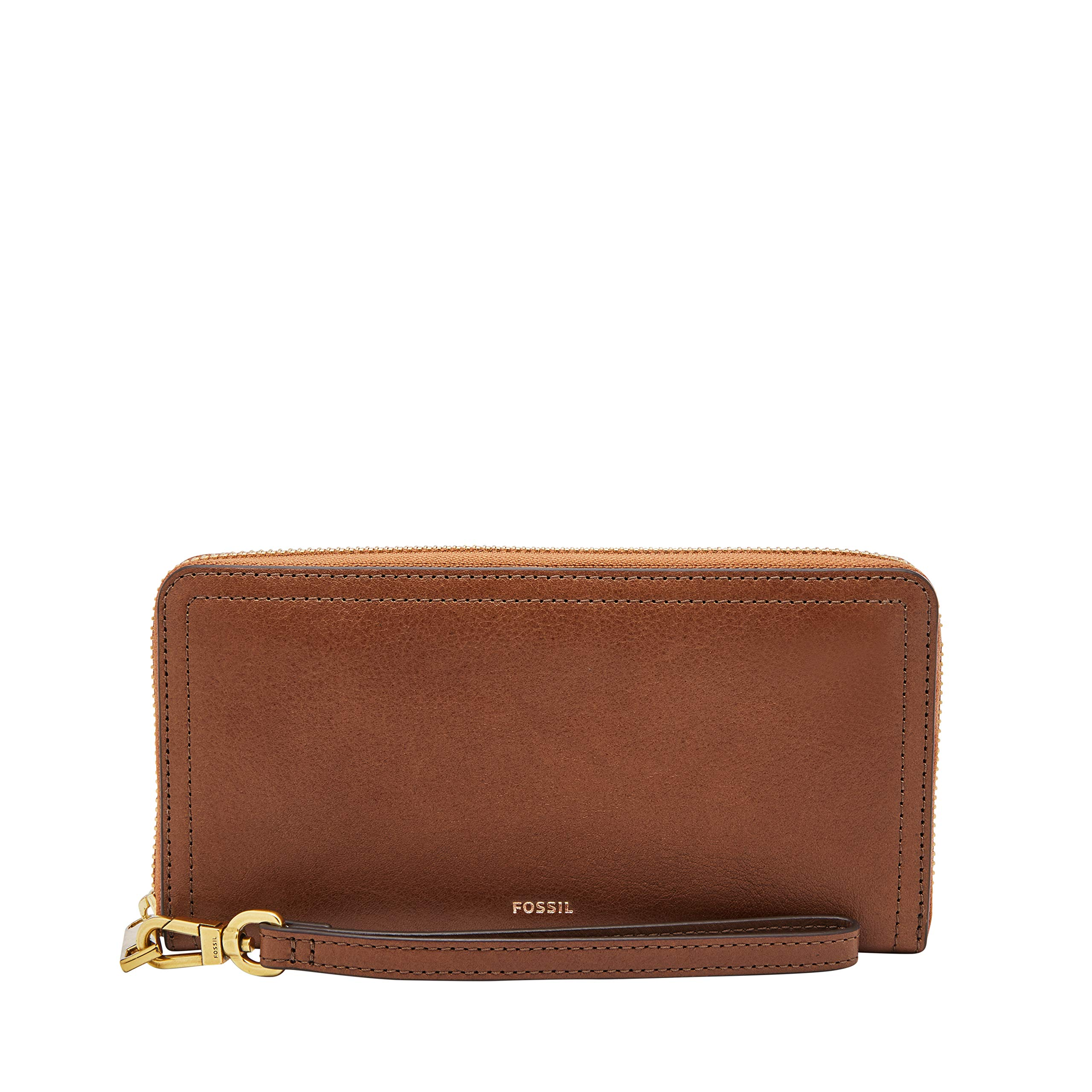 Fossil Logan RFID Zip Around Clutch Brown, by Fossil