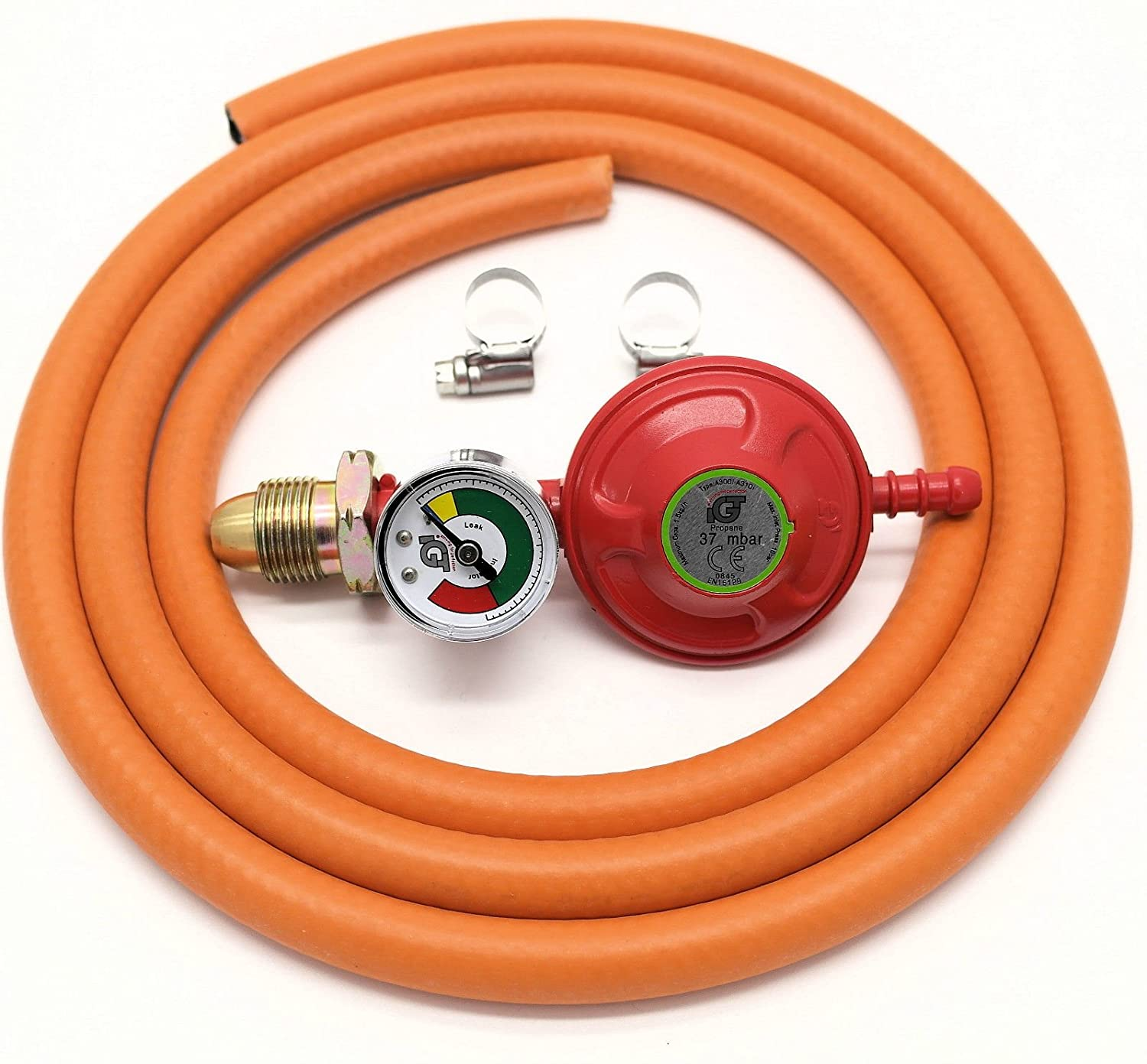 IGT 37mbar PROPANE GAS REGULATOR WITH PRESSURE GAUGE /& 2 M HOSE KIT WITH 2 CLIPS