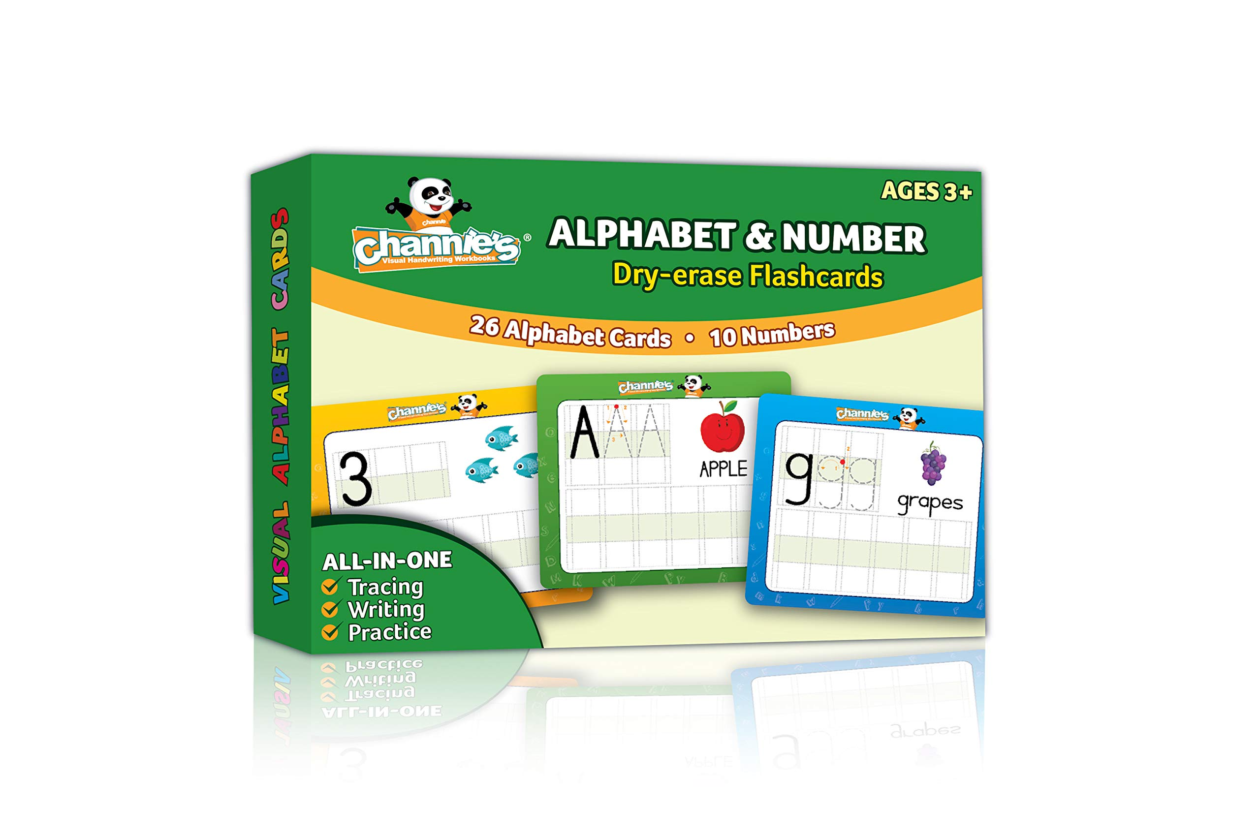 Channie's Visual Dry Erase Alphabet & Numbers Flashcards, Tracing, Practicing & Writing, ALL In One Flash Cards Size 5.5'' x 4.25 '', Ages 3 and Up, PreK - 1st