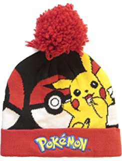 9a59824699f Pokemon Official Licensed Red Pickachu Pokeball Design Winter Bobble Beanie  Hat Age 5-6 Years