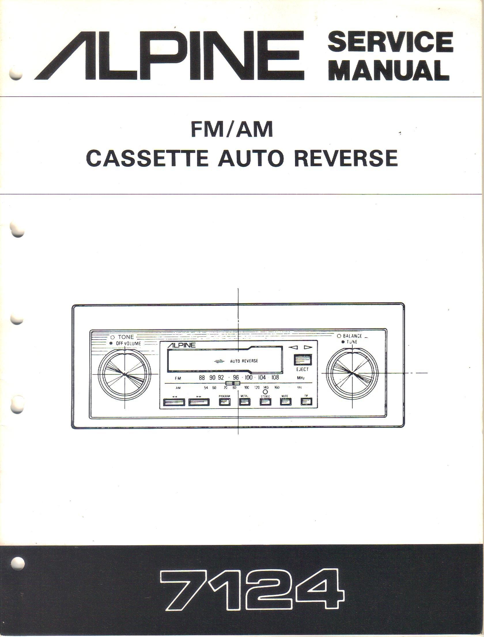 Alpine 7124 Preset AM FM Cassette Auto Reverse Car Stereo, Service Manual, Parts  List, Schematic Wiring Diagram: Alpine Electronics Inc, not stated:  Amazon.com: BooksAmazon.com