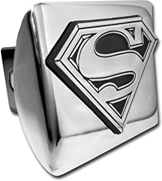 Elektroplate Superman emblem on black Hitch Cover hitch pin included