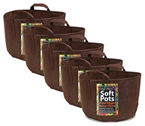 Soft Pot (15 Gallon) (5 Pack) Best Fabric Garden Aeration Pots and Grow Bags from Maui Mike's. Soft Pots Have Sewn Handles for Easy Moving. Grow Bigger and Healthier Tomatoes,Herbs and Veggies. Eco.