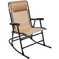 AmazonBasics Outdoor Patio Folding Rocking Chair, Beige