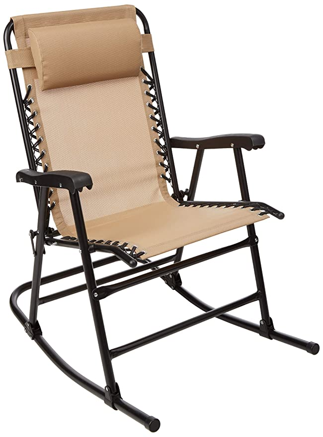 AmazonBasics Outdoor Patio Folding Rocking Chair, Beige