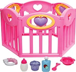JC Toys Baby Doll Play Pen Gift Set for Keeps Playtime!|Fits Dolls up to 17