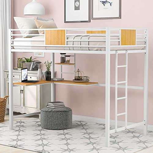 P PURLOVE Twin Loft Bed Metal Loft Bed Frame