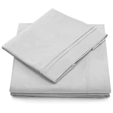 Queen Size Bed Sheets - Silver Luxury Sheet Set - Deep Pocket - Super Soft Hotel Bedding - Cool & Wrinkle Free - 1 Fitted, 1 Flat, 2 Pillow Cases - Light Grey Queen Sheets - 4 Piece
