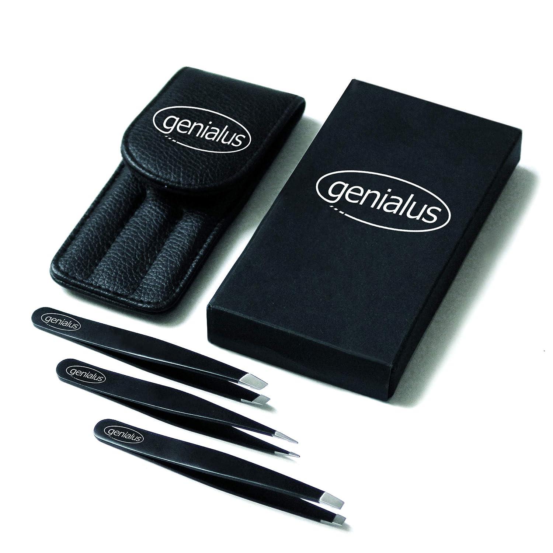 Augenbrauen Pinzetten Set (3-teilig) aus Edelstahl mit Etui - Kosmetik Pinzette für Haare, verstärkte Spitzen - Profi Augenbrauenpinzetten Set für Damen und Herren G. Schwarz