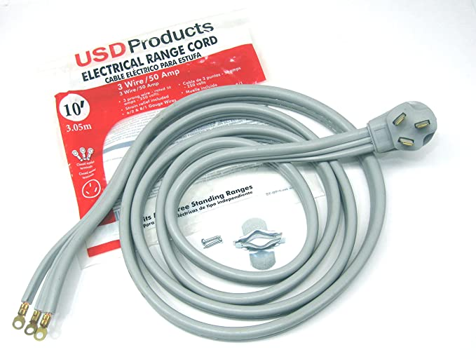 Amazon.com: USD Products Range Oven Electric Power Cord 3 Prong Wire 50 Amp 10 Foot Heavy Duty: Home Improvement