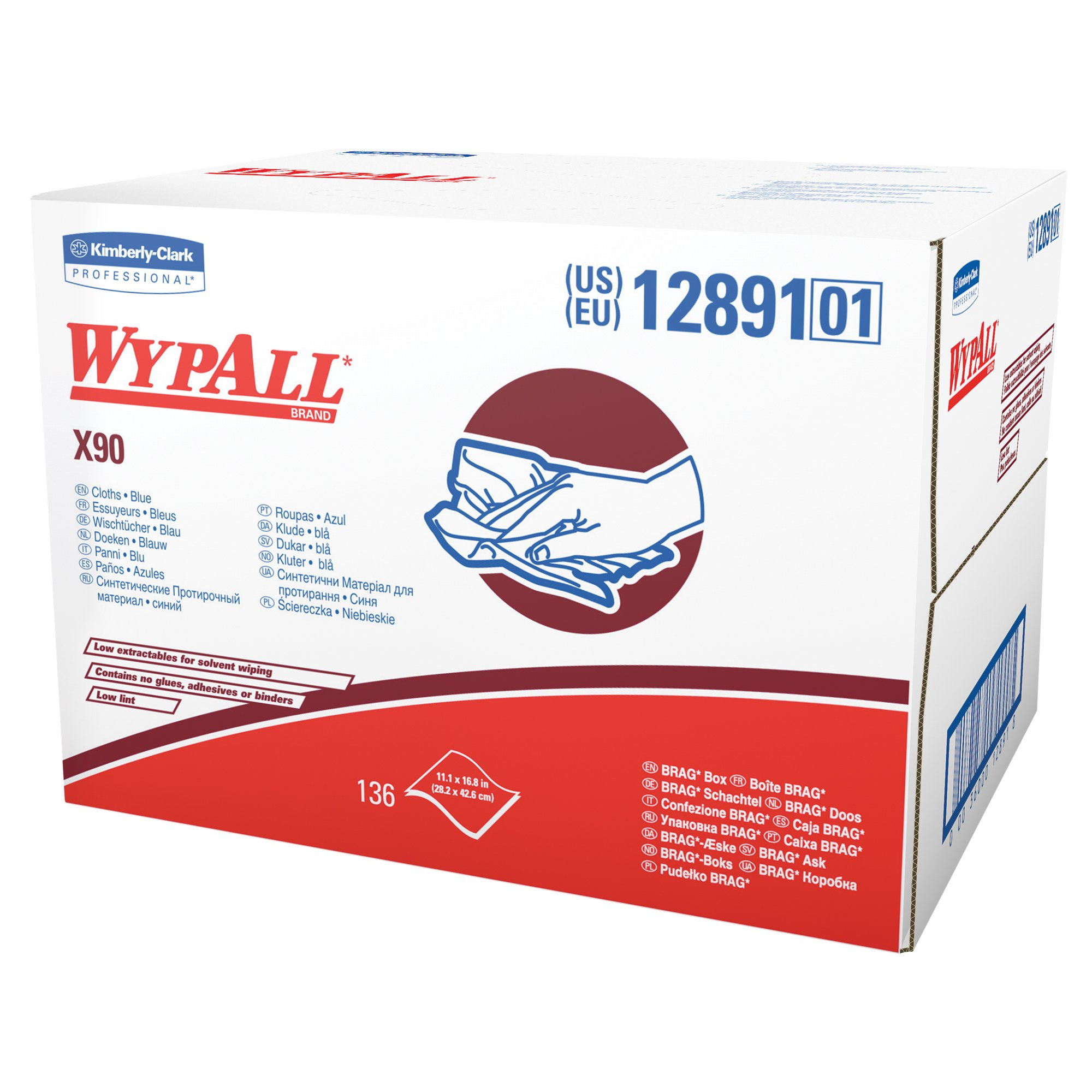Wypall X90 Extended Use Cloths (12891), Reusable Wipes BRAG BOX, Blue Denim, 1 Box/Case, 136 Sheets/Box