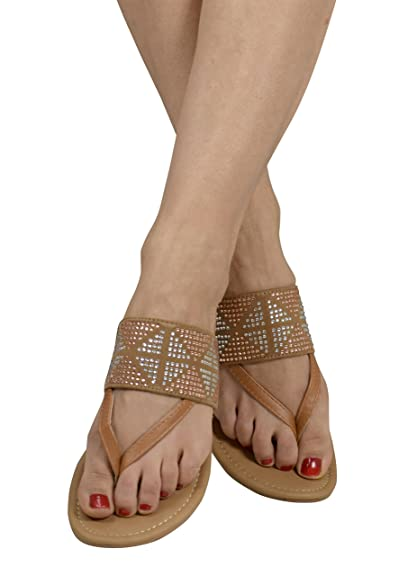 407e265d6d6 Peach Couture Womens Double Strap Pearl Studded Wide Band Slides Sandals  Tan 6 B(M