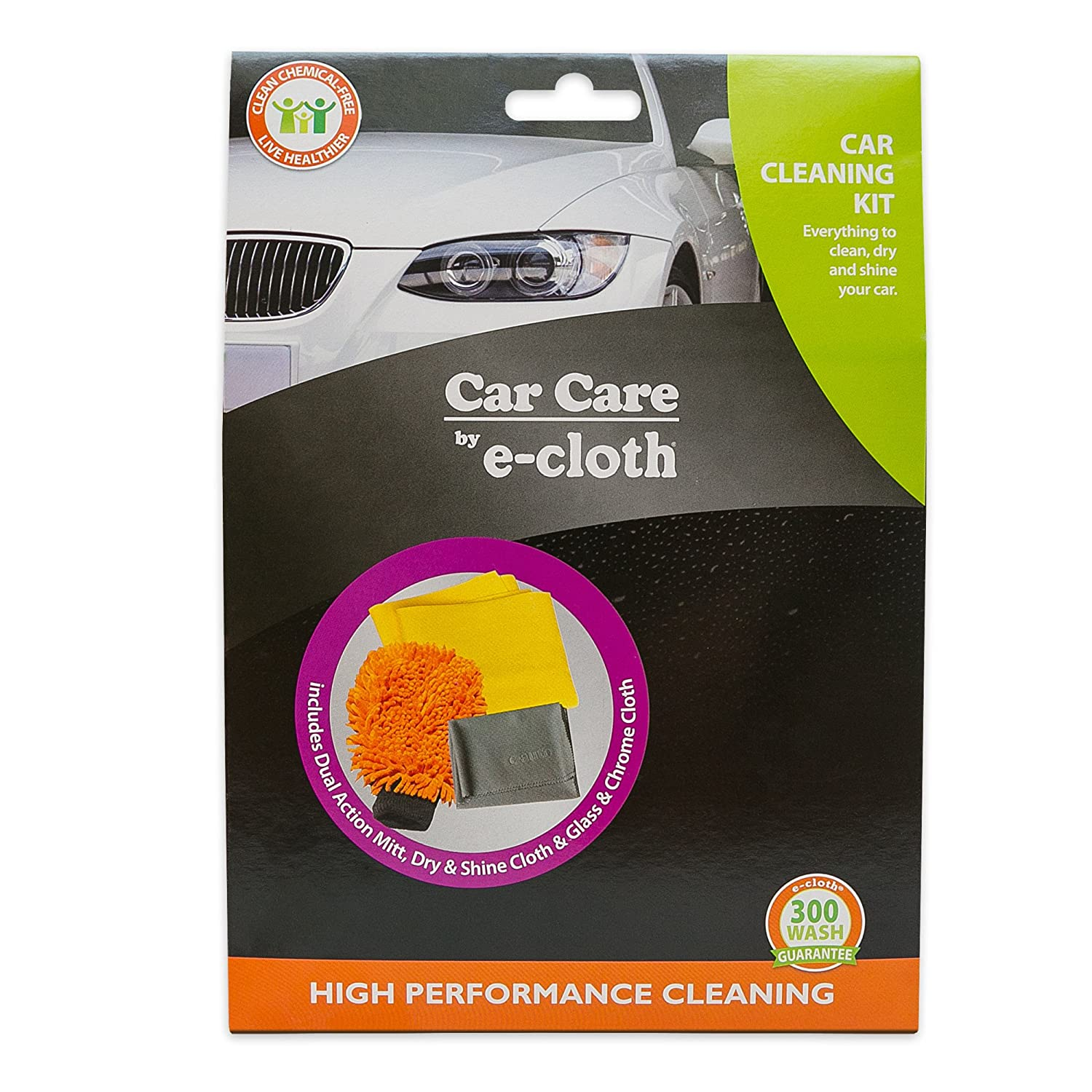 E-Cloth Car Cleaning Kit - Brilliant for Washing, Drying, Polishing - No-Scratches, Streaks or Residue - Just Add Water THRTX0031