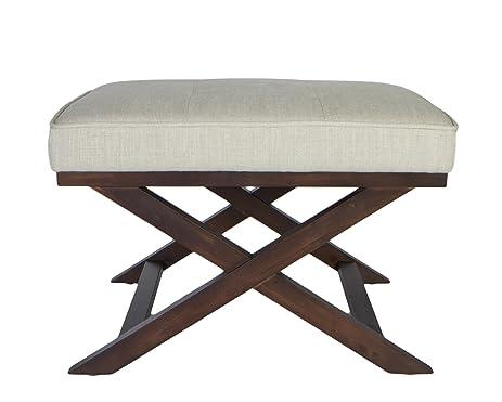 Cortesi Home OT168333 Ari u0026quot;Xu0026quot; Bench in Linen Fabric with Walnut ...  sc 1 st  Amazon.com & Amazon.com: Cortesi Home OT168333 Ari