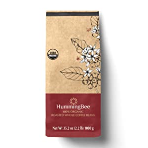 HUMMINGBEE Roasted Whole Coffee Beans - 100% USDA Certified Organic - Colombian Medium Dark Roast - 2.2lb (35.2 oz)