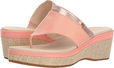 cf4b7da32bb7 Cole Haan Women s Cecily Grand Thong Chalk Leather Silver Shimmer Metallic  Leather Natural Canvas