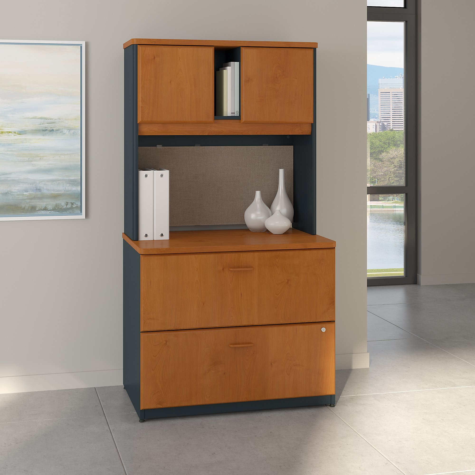Bush Business Furniture Series A 36W Lateral File Cabinet with Hutch in Natural Cherry and Slate by Bush Business Furniture
