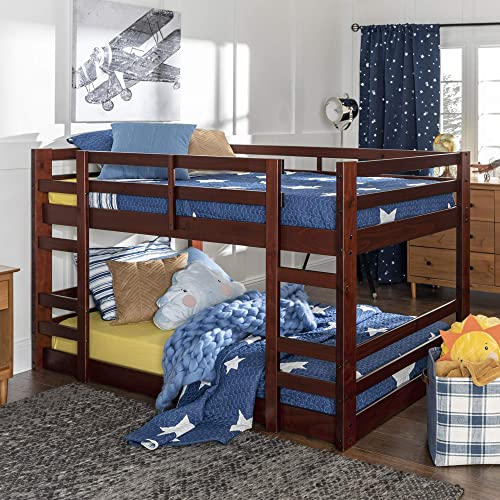 Walker Edison AZWJRTOTES Wood Twin Bunk Kids Bed Bedroom with Guard Rail and Ladder Easy Assembly, Espresso Brown