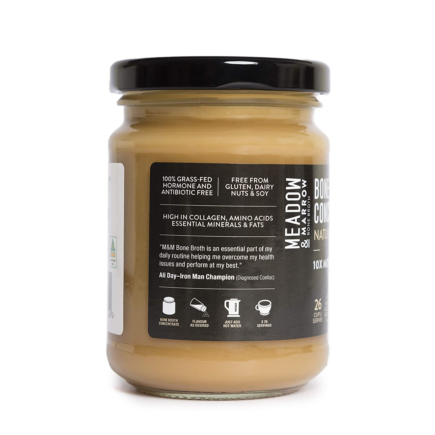 Meadow & Marrow Beef Bone Broth Concentrate - Natural Flavour - 260 grams - Australian Grass Fed Beef - 10 X MORE Amino Acids/G* - Free from Gluten, ...