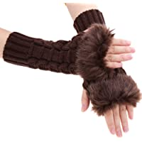 FINEJO Fashion Women Faux Fur Long Wrist Fingerless Winter Gloves Soft Warm Mitten