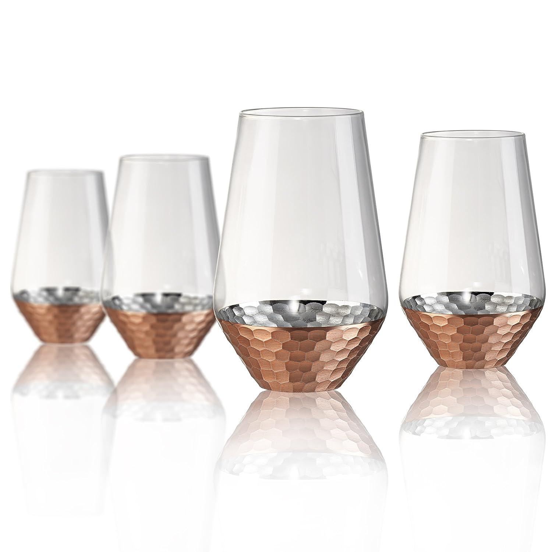 Artland Coppertino Hammer Highball Glasses, Set of 4, 17 oz, Clear 52033B