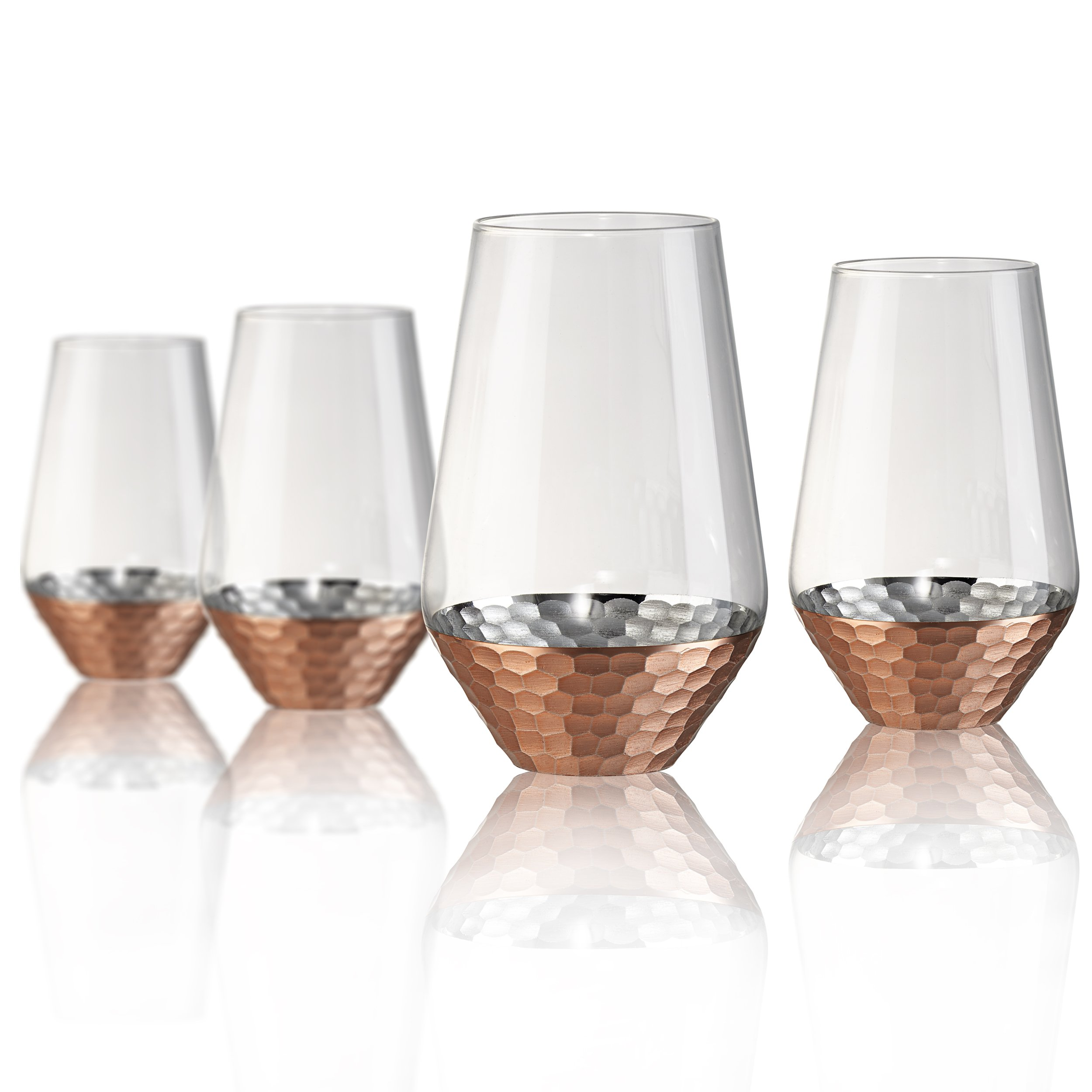 Artland Coppertino Hammer Highball Glasses, Set of 4, 17 oz, Clear