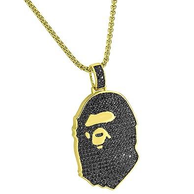 Ape Pendant 14k Gold Finish Black Lab Diamonds Hip Hop Custom 24quot Chain New