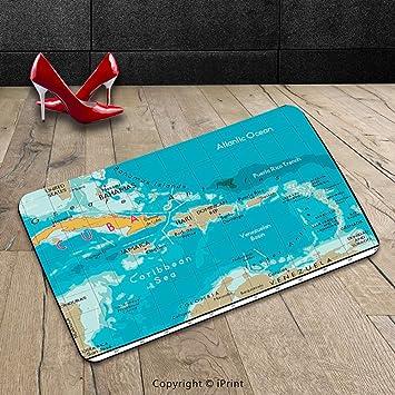 Custom lavable Felpudo (Wanderlust Decor Collection Cuba mapa y Caribe mar océano Geografía Política división