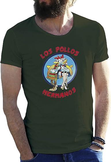 KoalaCovers Los Pollos Hermanos Verde Militar Camiseta para Hombre Small: Amazon.es: Ropa y accesorios