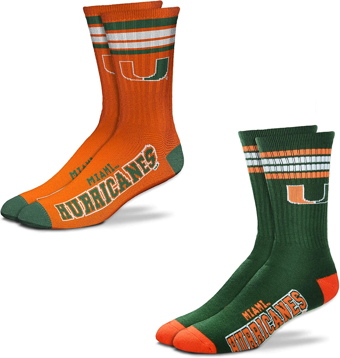 For Bare Feet Mens NCAA 2-Pack -4 Stripe Deuce Crew Socks-Size Large and Medium