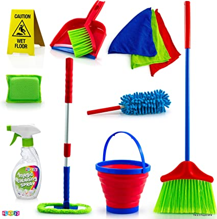Studyset Childrens Retractable Floor Cleaning Tool Mop Broom Game Play Houses Toys Holiday Festival Gifts for Kids