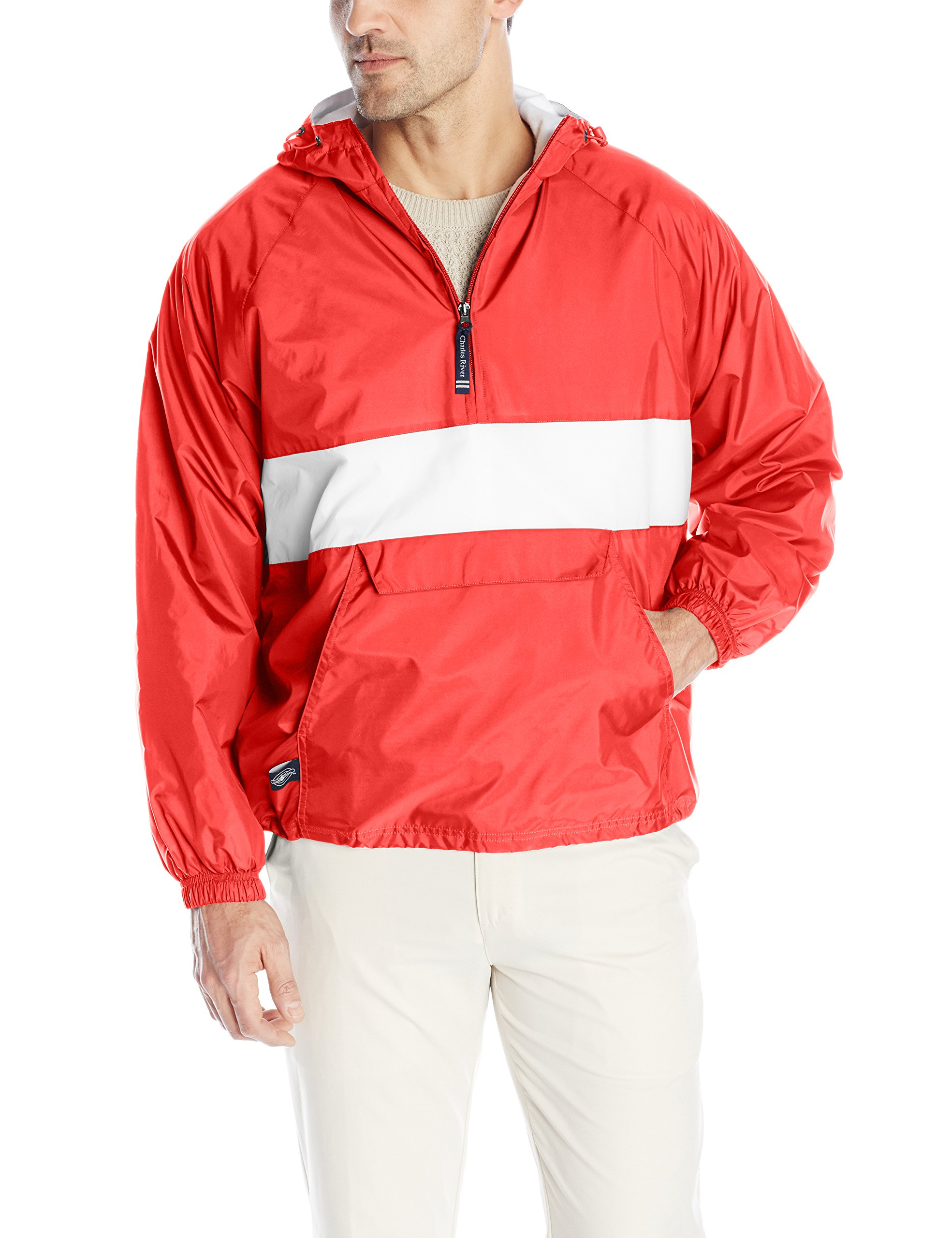 Charles River Apparel Men's Classic Striped Pullover Jacket, Red/White, Small
