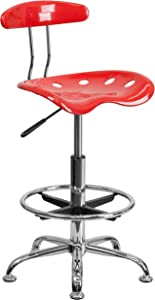 Flash Furniture Vibrant Cherry Tomato and Chrome Drafting Stool with Tractor Seat