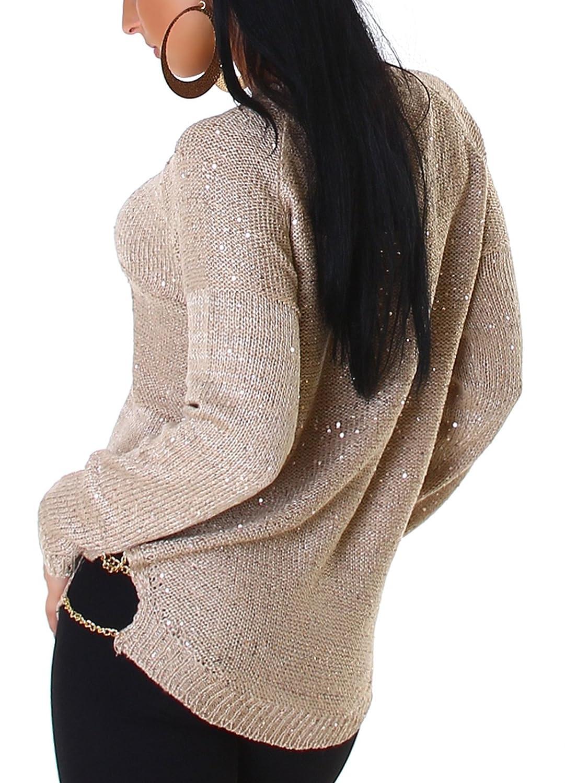 Jackson London - Long pull à paillettes - Avec des chaînes d or et motifs  tissés - Pour femmes - Disponible en plusieurs tailles 36   38   40 -  Marron ... 2ce7c3ad7370