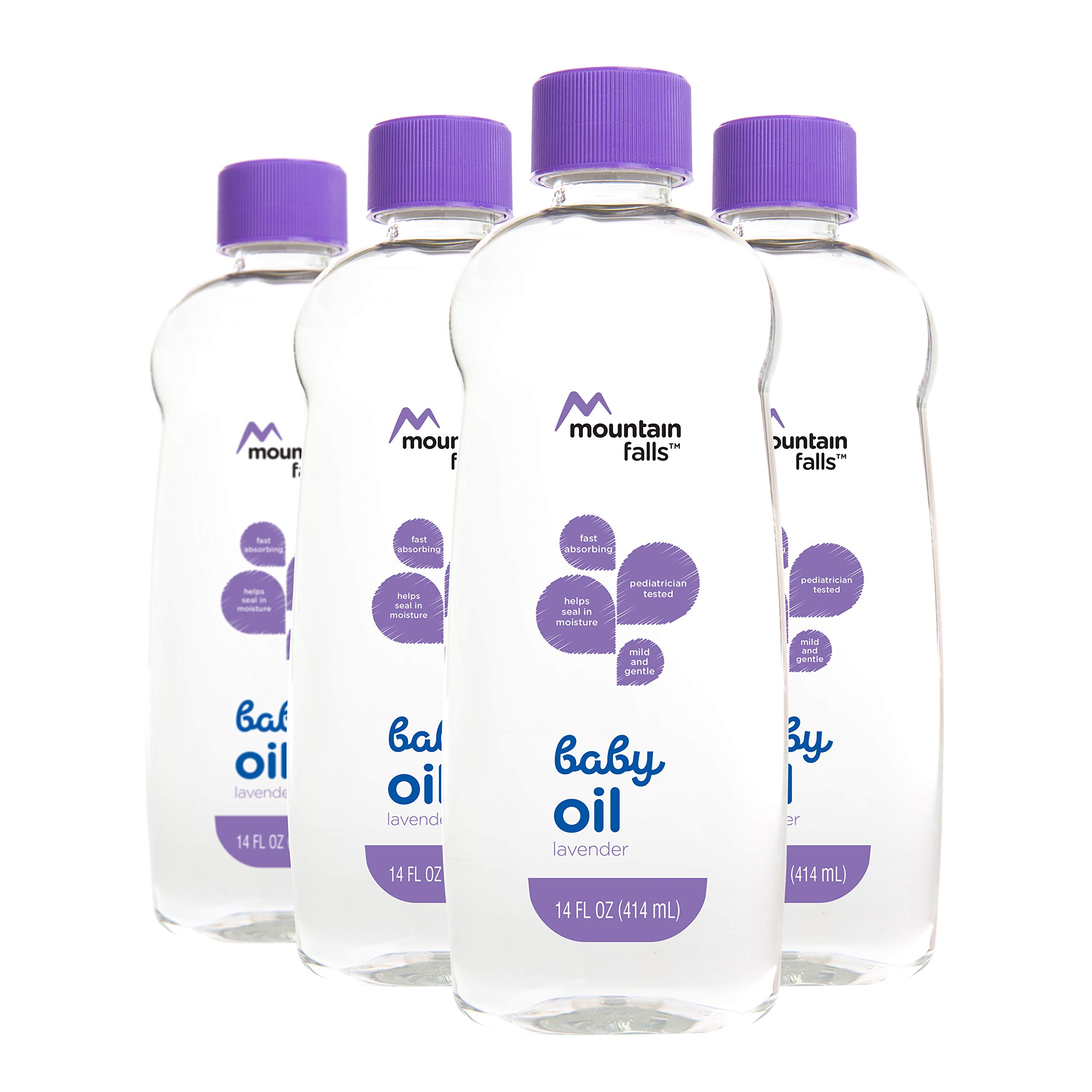 Mountain Falls Baby Oil, Lavender, Compare to Johnson's, 14 Fluid Ounce (Pack of 4)