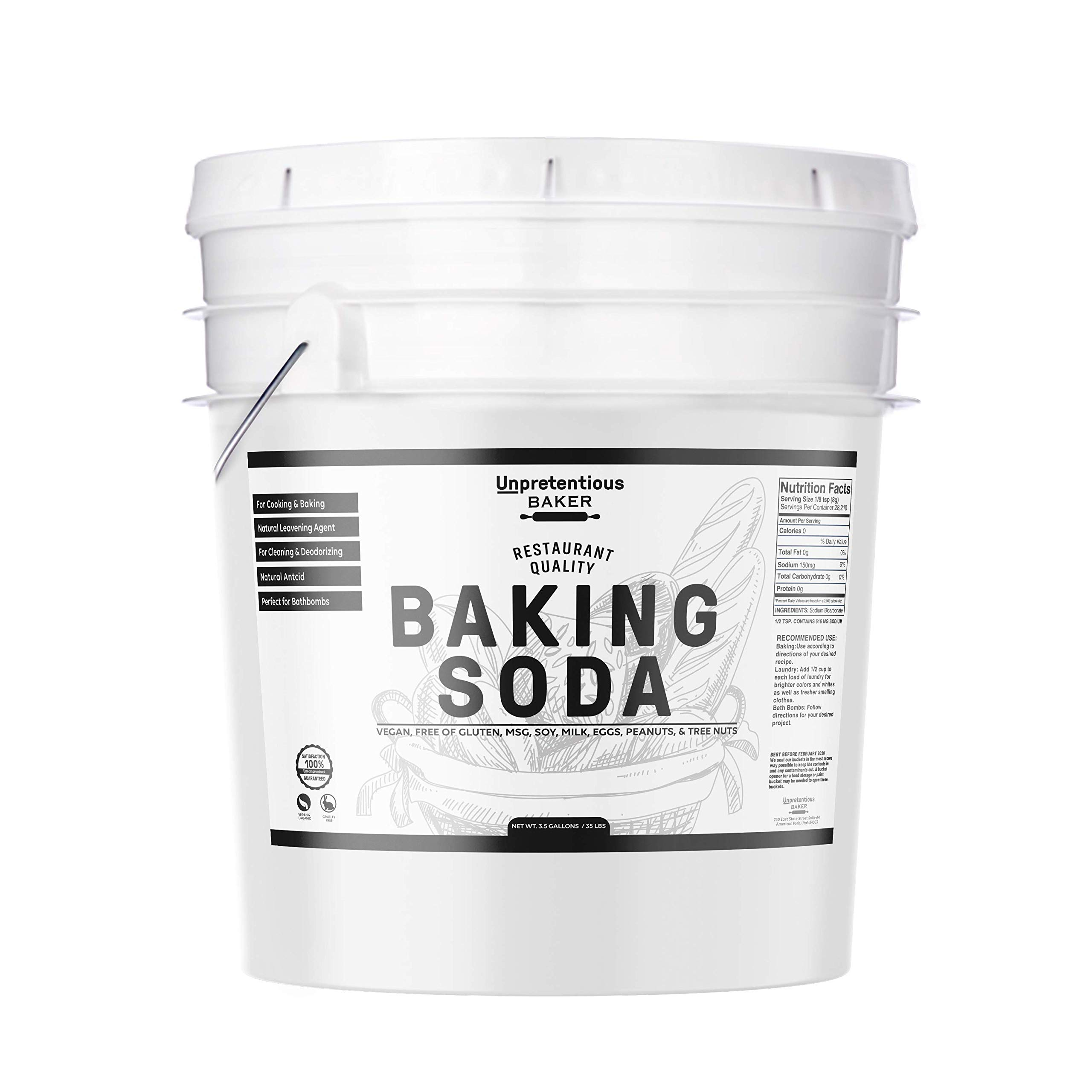 Baking Soda (Sodium Bicarbonate) by Unpretentious Baker, 3.5 gallon, Resealable Bucket, Restaurant Quality, Highest Purity, Food & USP Pharmaceutical Grade