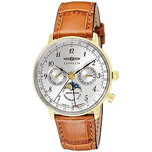 [ツェッペリン] 腕時計 Hindenburg シルバー文字盤 7039-1 並行輸入品 ブラウン [並行輸入品]