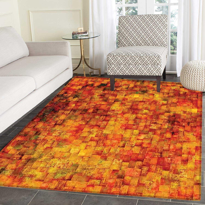 Amazon Com Burnt Orange Area Silky Smooth Rugs Vintage Mosaic