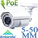 USG 3MP 2048×1536 IP Bullet Security Camera: PoE, 5-50mm Long Range 10x Zoom Varifocal Lens, 72x IR LEDs For 200 Feet Nightvision Protection, Advanced Ambarella A5 DSP, IR-Cut, IP66 NEMA 4x Outdoor Rated, ONVIF, Remote Viewing On Phones + Computers *** Ideal For Business & Industrial Applications