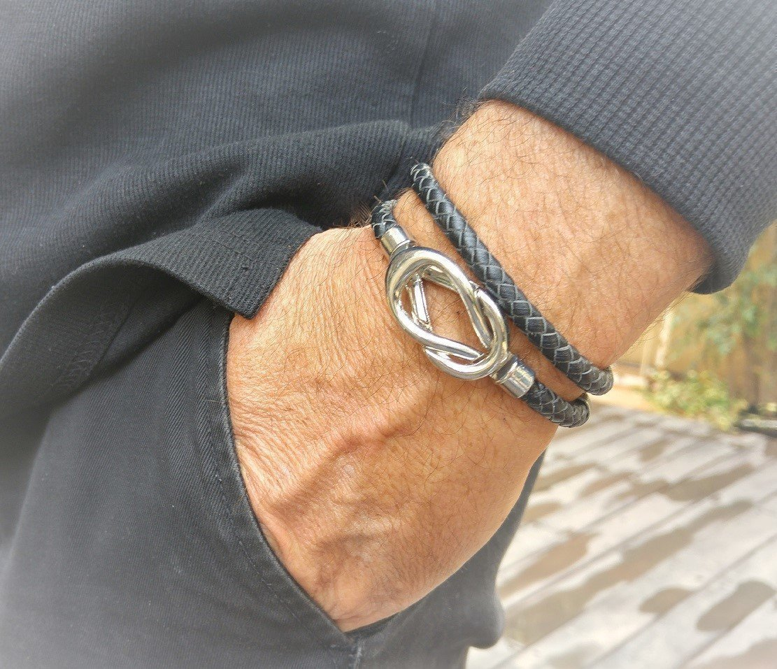 Men's Black Leather Cord Infinity Bracelet, Mens Braided Wristband
