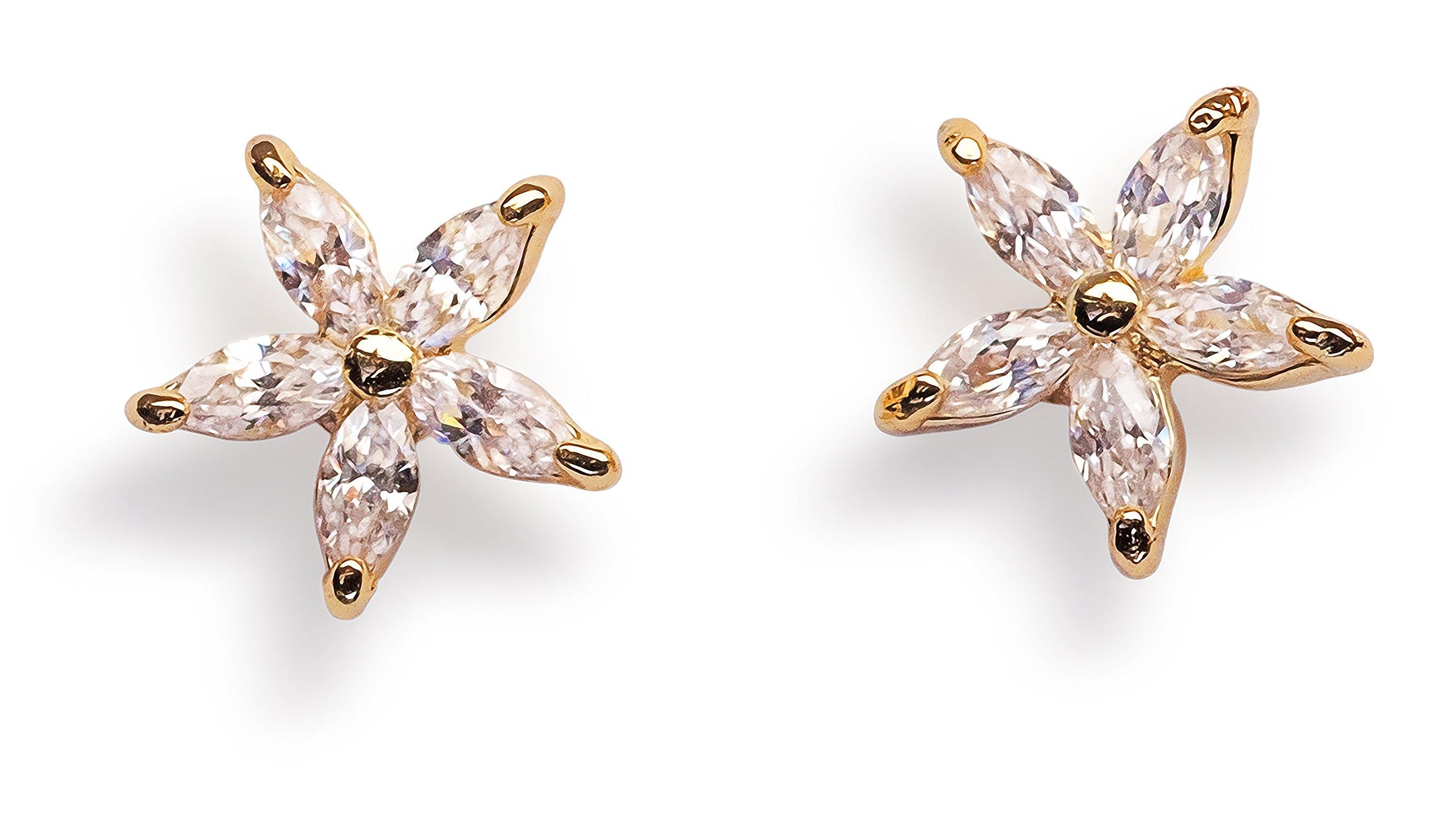 Flower Earrings - Flower Stud Earrings 14k Gold Earrings for Girls Earrings Stud Earrings for Women 14k Gold Hypoallergenic Stainless Steel for Sensitive Ears Daisy Studs Celeb Approved by Benevolence LA