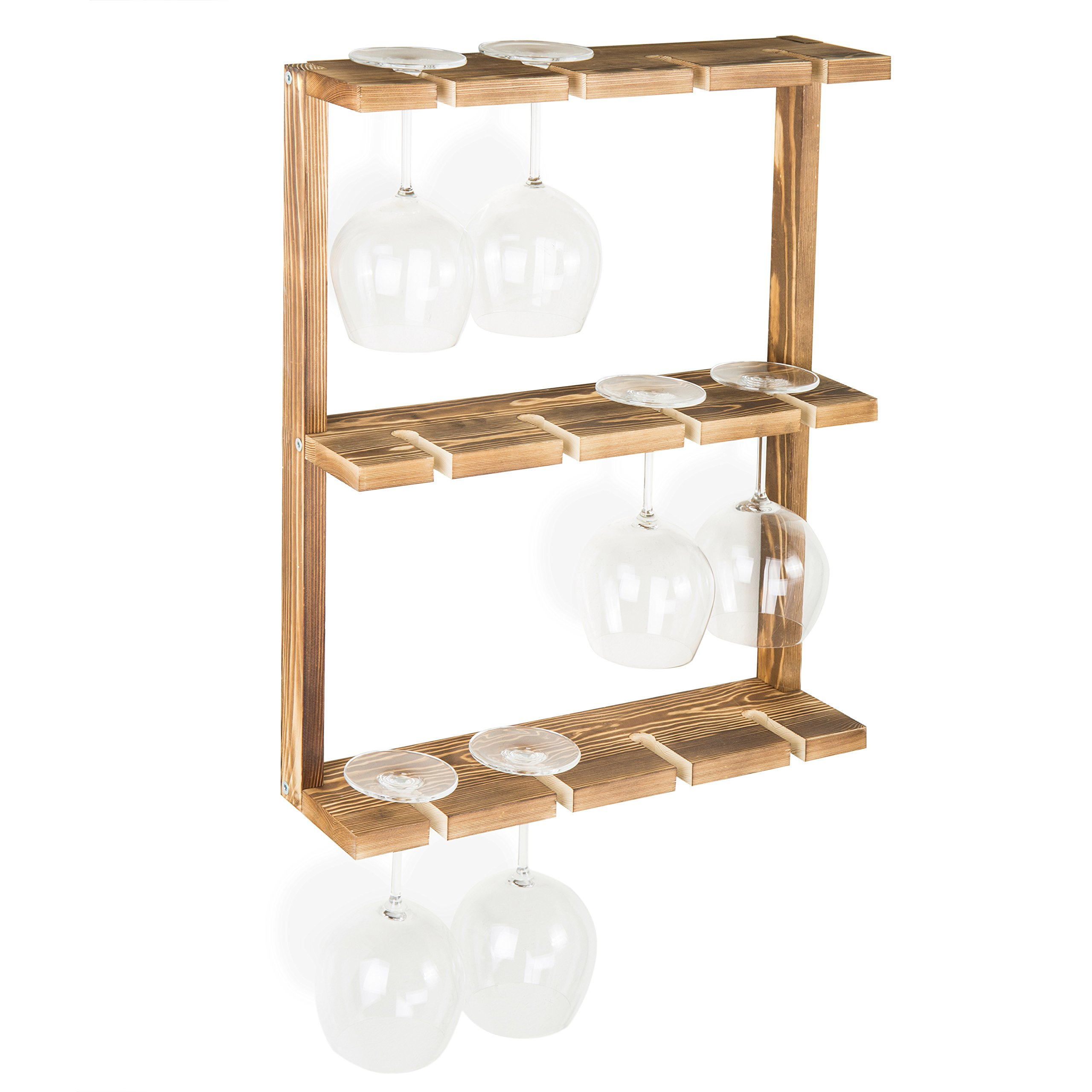 MyGift Burnt Wood Wall-Mounted 12 Wine Glass Holder Rack, Inverted Stemware Display