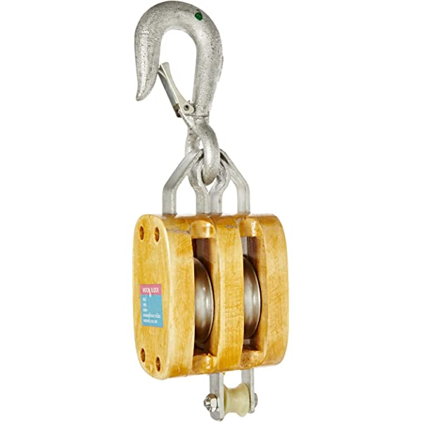 3-1//2 Sheave 2500 lbs Load Capacity 3//4 Rope Indusco 16900111 6 Double Wood Manila Rope Block with Hook